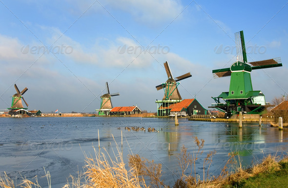 Dutch Windmills - Stock Photo - Images