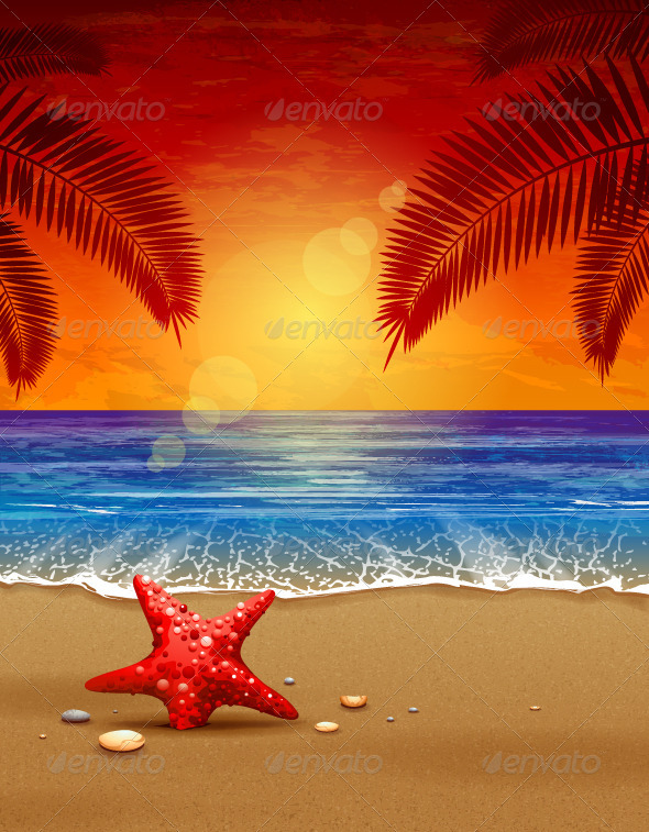 Sea sunset vector illustration