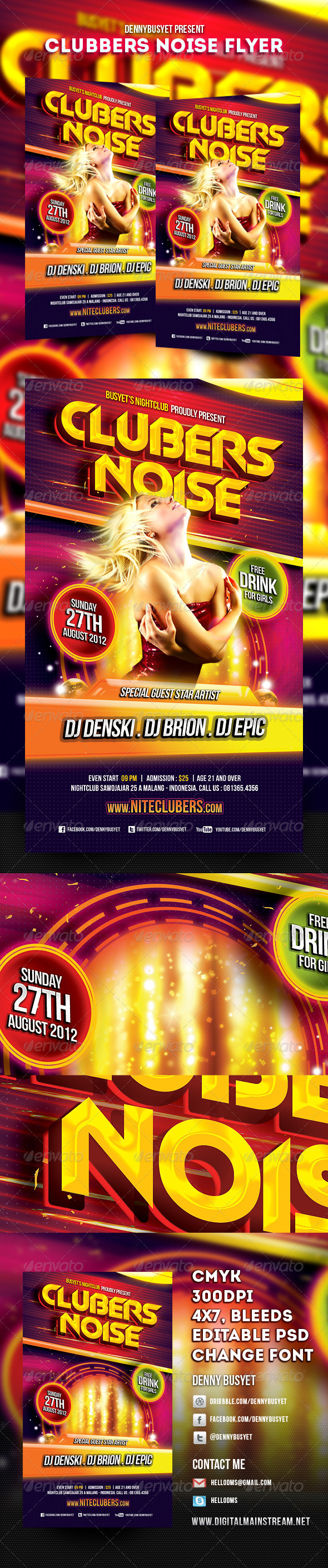 Clubbers Noise Nightclub Flyer Template - Events Flyers