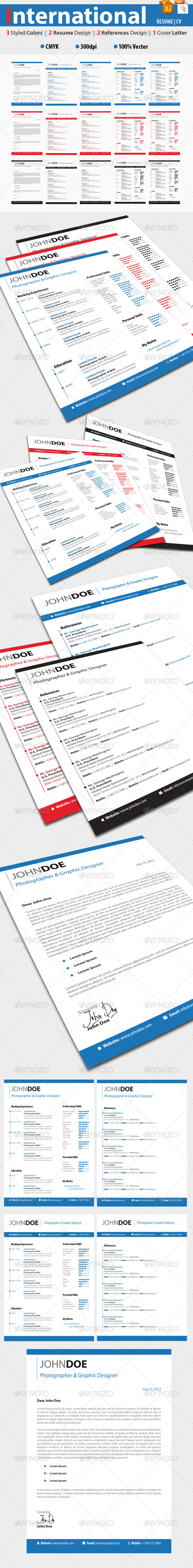 International Resume Set Template | 3 Styles - Resumes Stationery