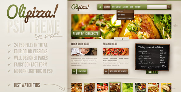 Olipizza - Really tasty PSD theme in 4 colors - Food Retail