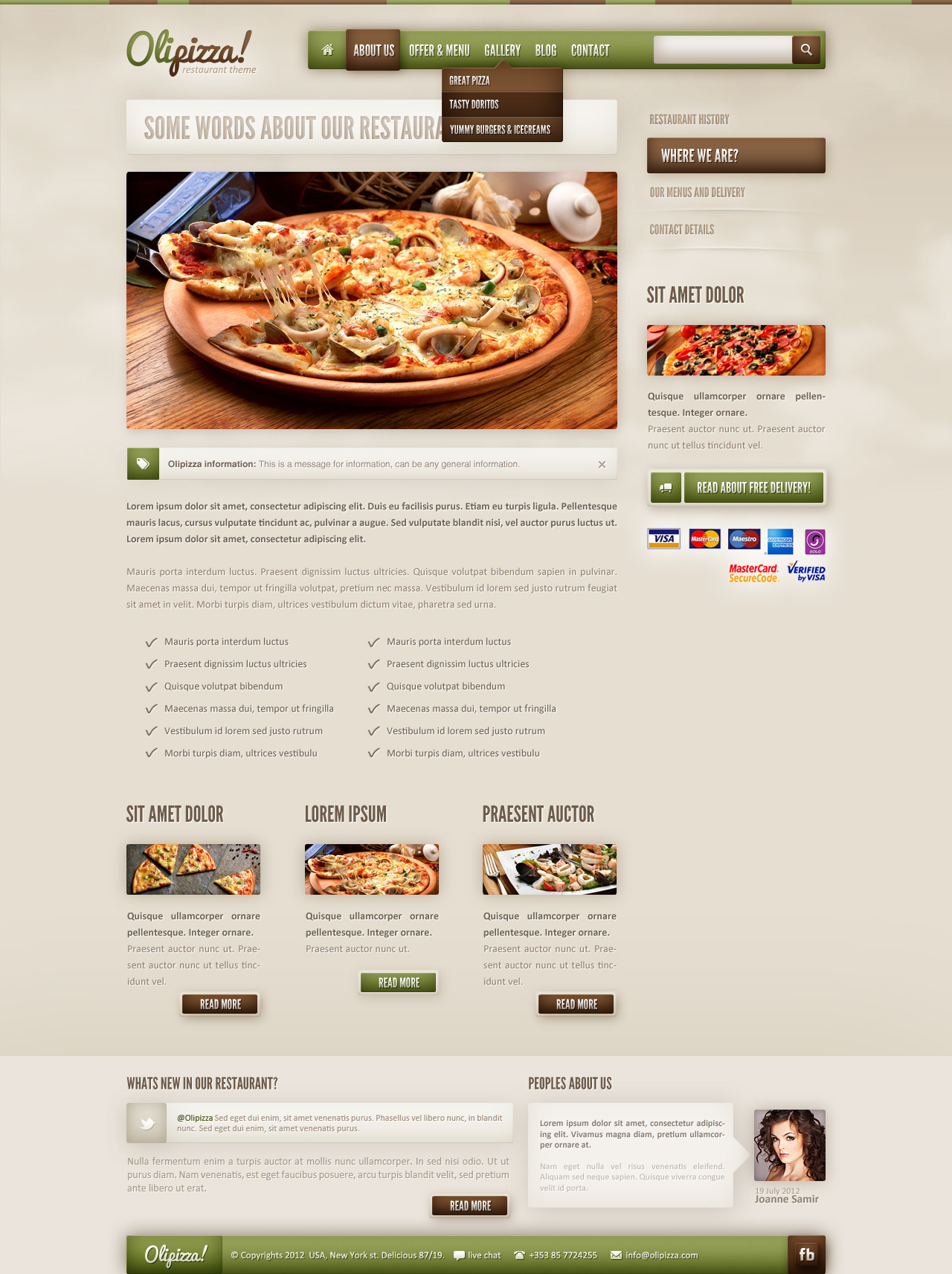 Olipizza - Really tasty PSD theme in 4 colors