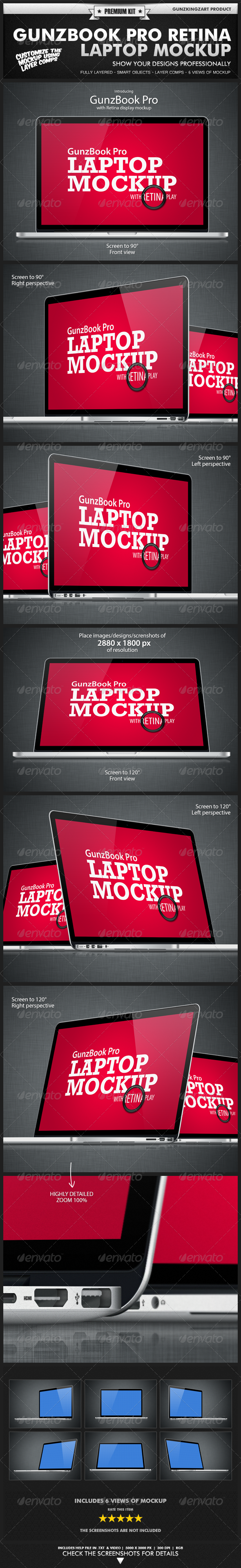 GunzBook Pro Retina Laptop Mockup - Monitors Displays