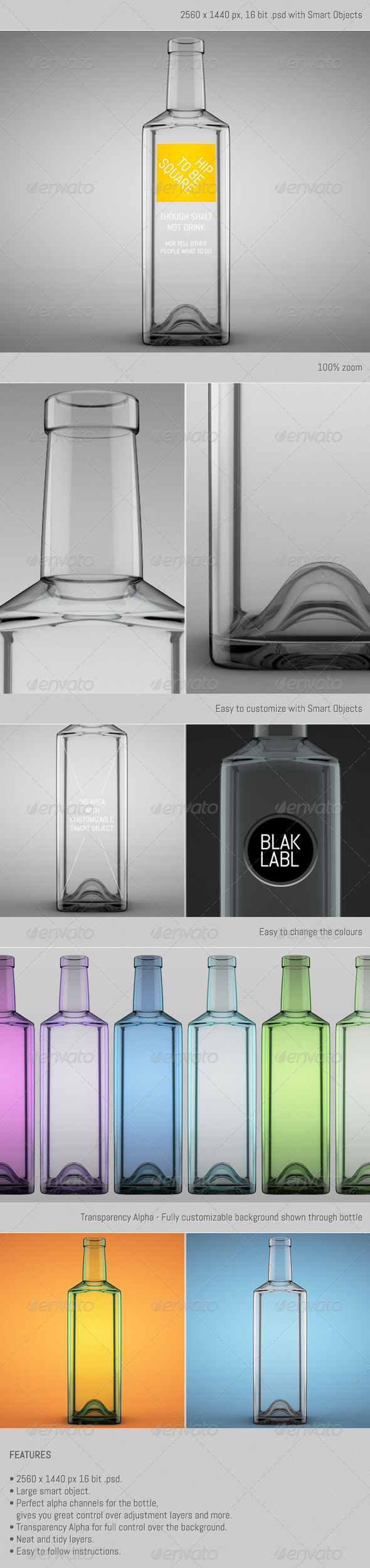 Square Bottle - Objects 3D Renders