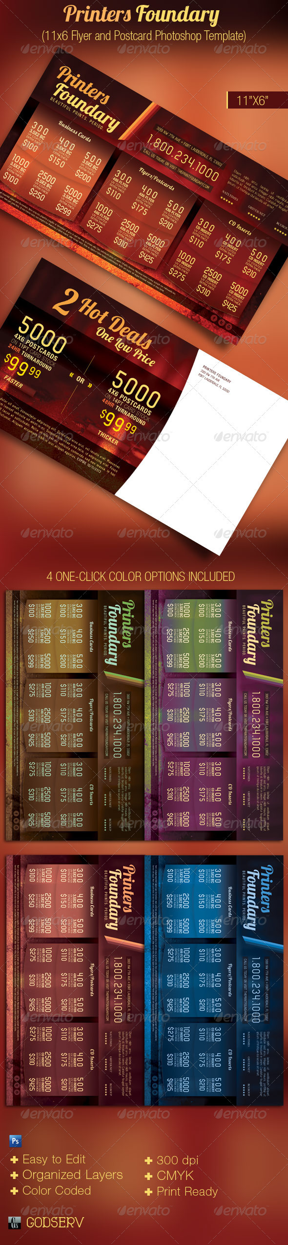 GraphicRiver Print Foundary Sales Flyer and Postcard Template 2660248