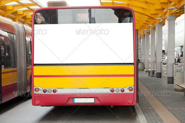 Blank billboard on back of bus - Stock Photo - Images