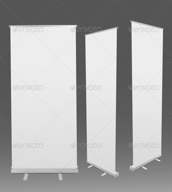 Blank roll up banner display - Stock Photo - Images
