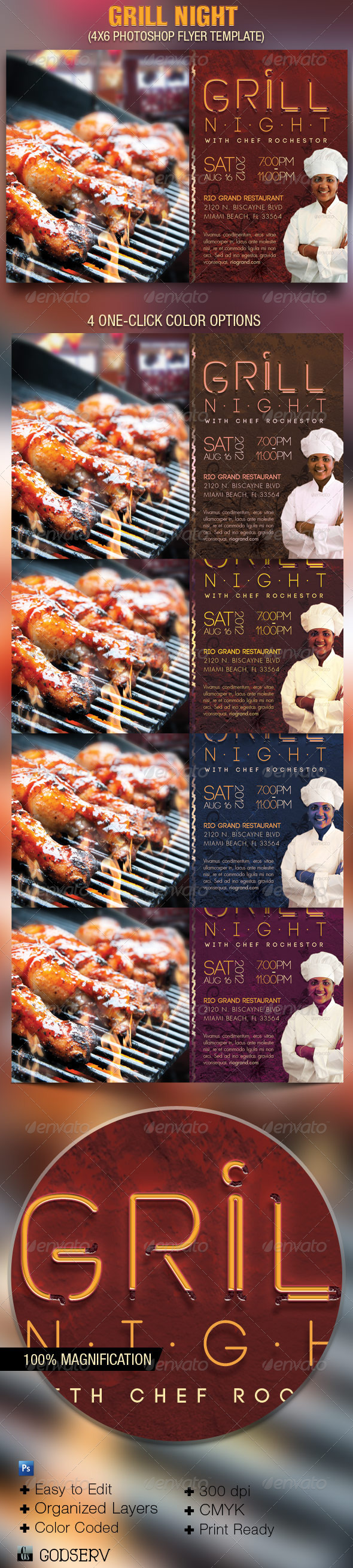 Grill Night Flyer Template - Events Flyers