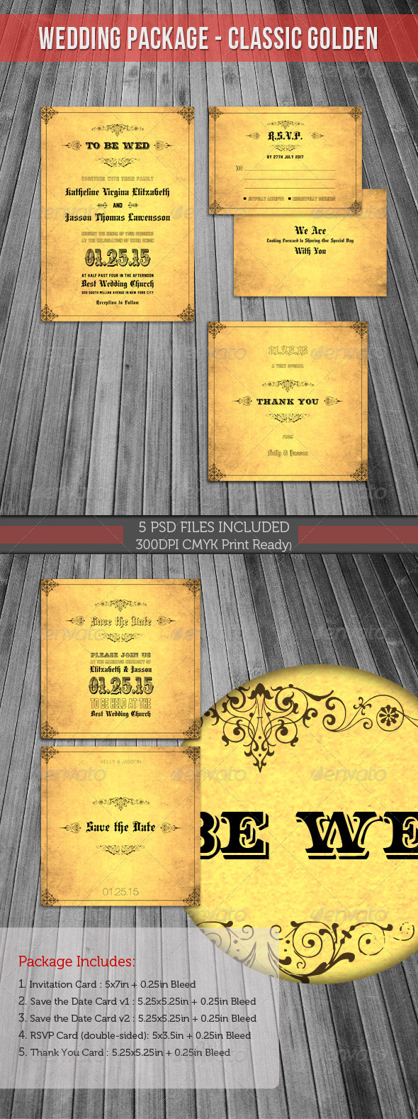 Wedding Invitation Package - Classic Golden - Weddings Cards & Invites