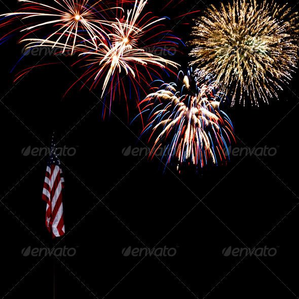 Fireworks Over American Flag - Stock Photo - Images
