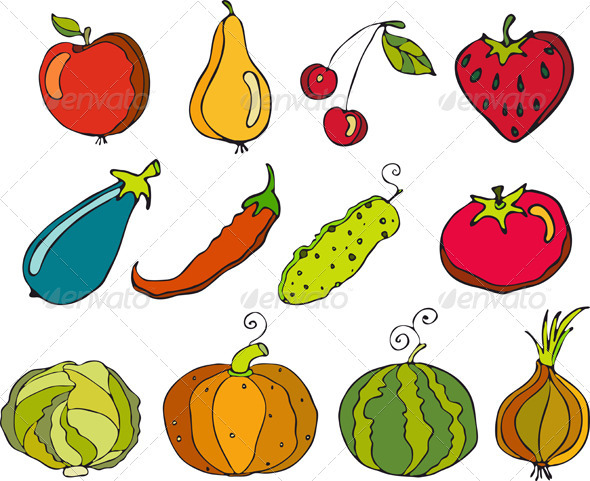 Vegetables Fruit Set Isolated