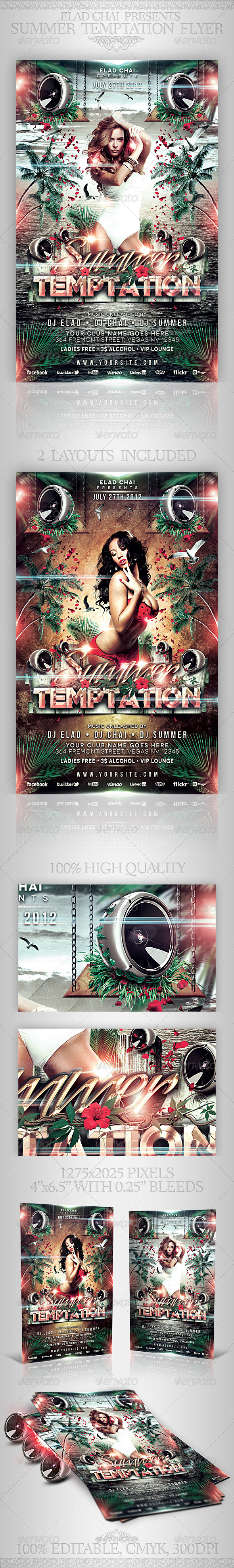 Summer Temptation Party Flyer Template - Clubs & Parties Events