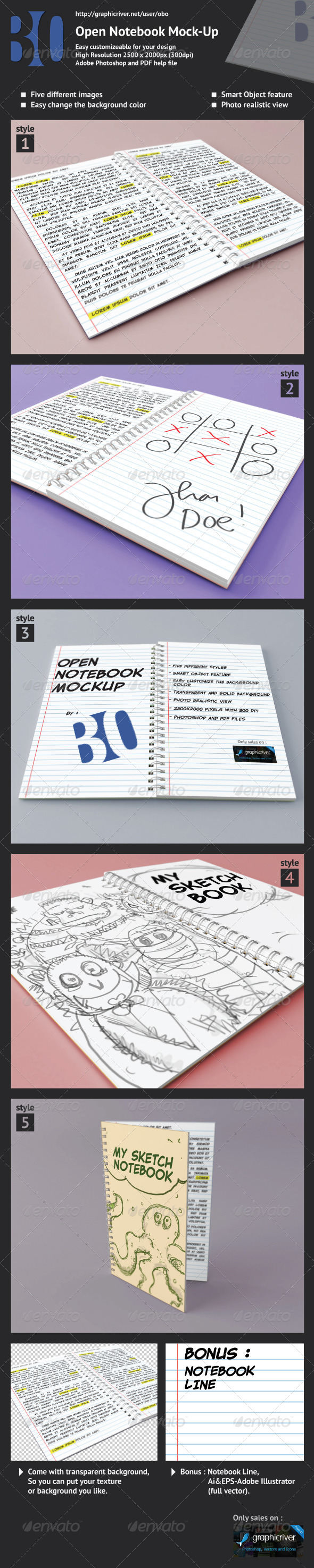 GraphicRiver Open Notebook Mock-up 2667217