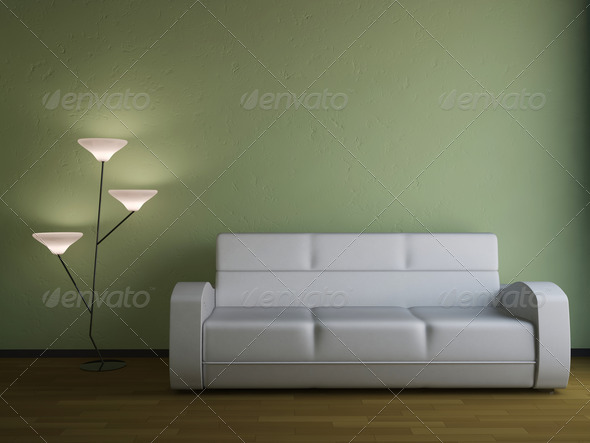 The sofa and the lamp  - Stock Photo - Images