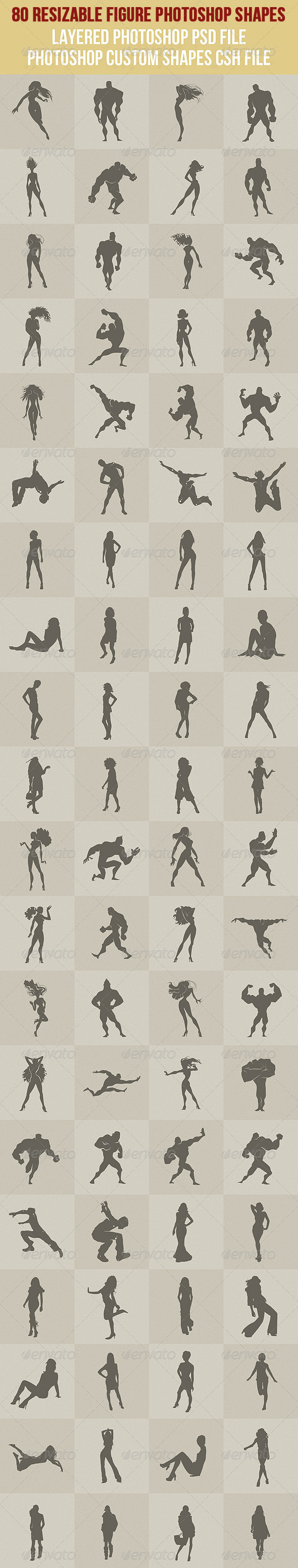 GraphicRiver 80 Figure Photoshop Shapes 2668078