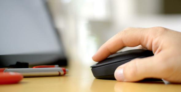 Stylish Mouse Clicks By Hand On Desktop