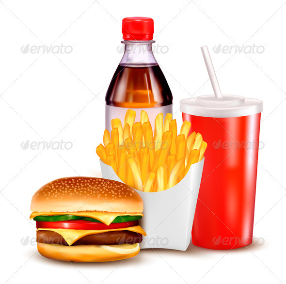GraphicRiver Hamburger and a bottle and drink 2668972