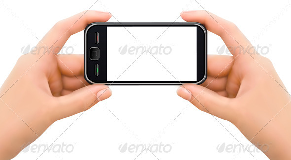 Two hands holding mobile smart phone - Communications Technology