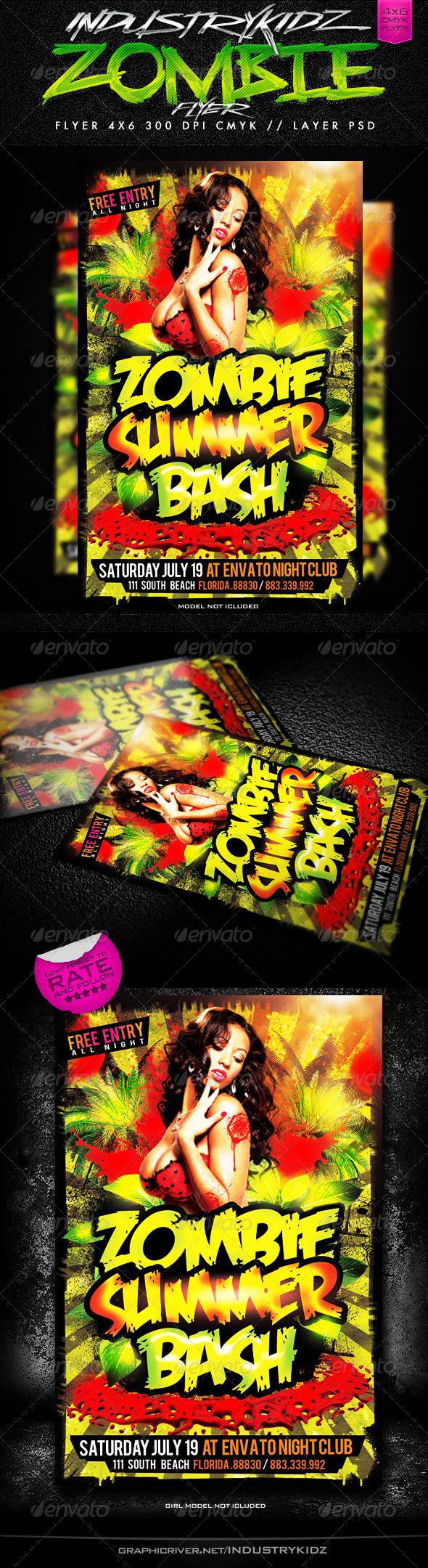 Zombie Summer Bash  - Events Flyers