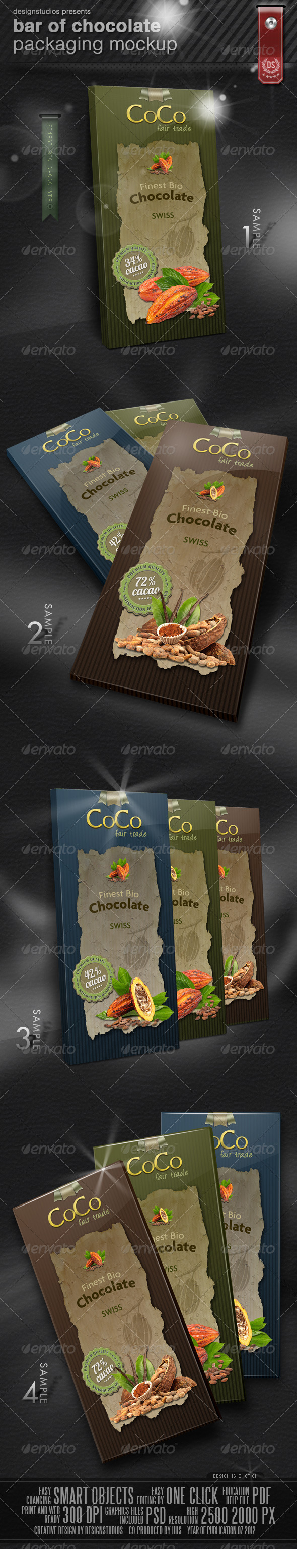 GraphicRiver Bar Of Chocolate Packaging Mock-Up 2630146