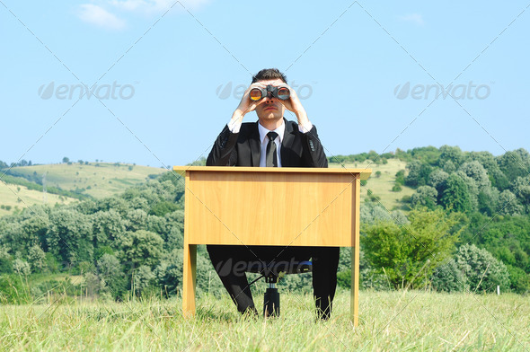 Business Man at desk - Stock Photo - Images