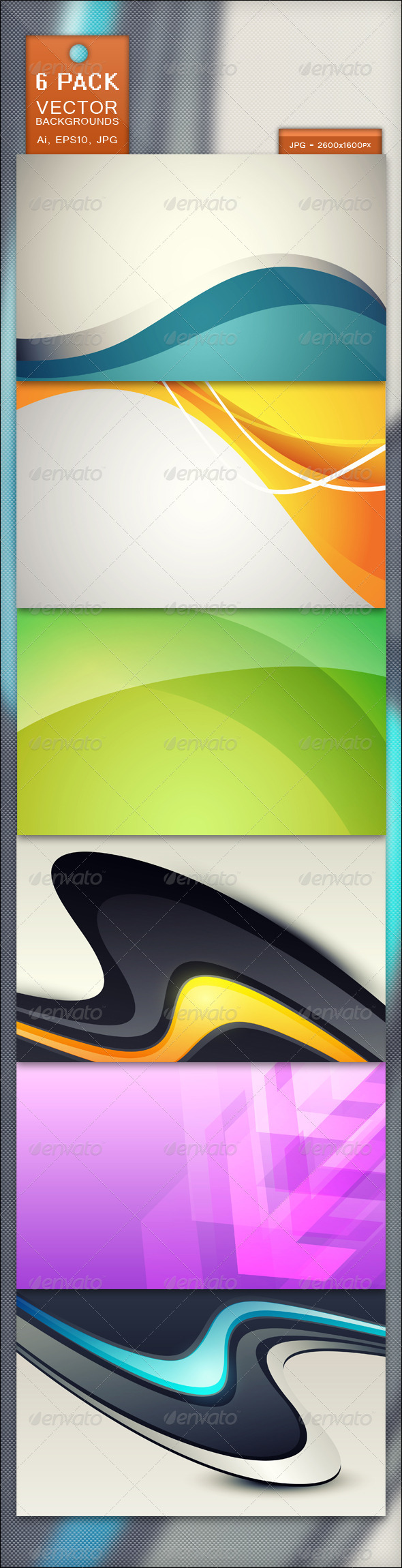 GraphicRiver 6 Pack Vector Backgrounds 2672089