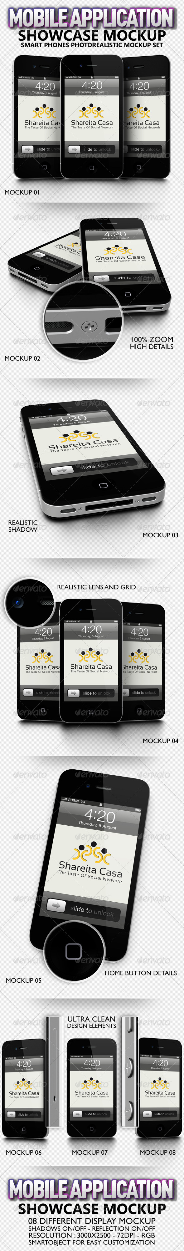 Mobile Application Showcase Mockup - Mobile Displays