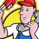 Plumber Worker With Adjustable Wrench Phone  - GraphicRiver Item for Sale