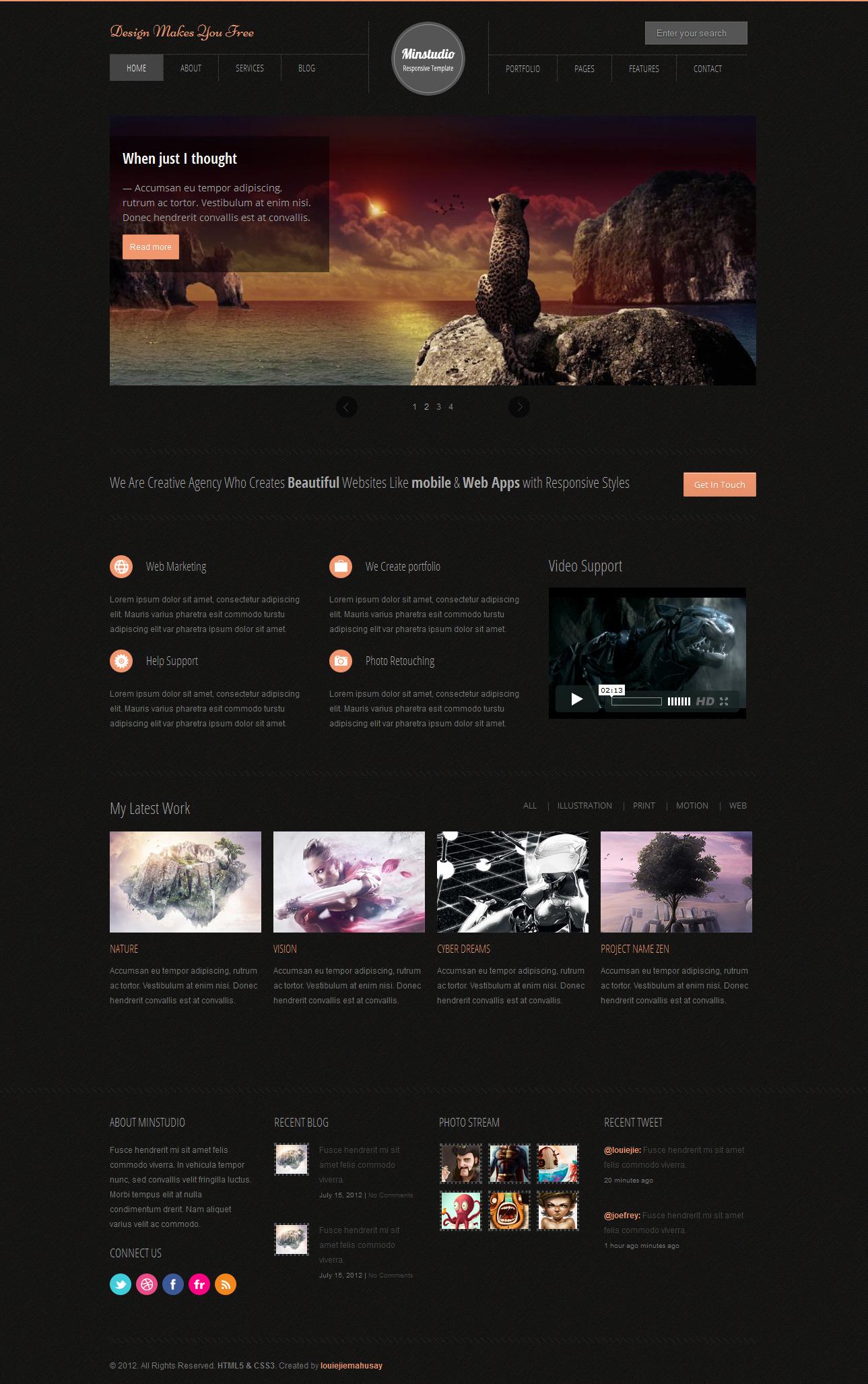 Minstudio - Responsive Minimal & Business Template -