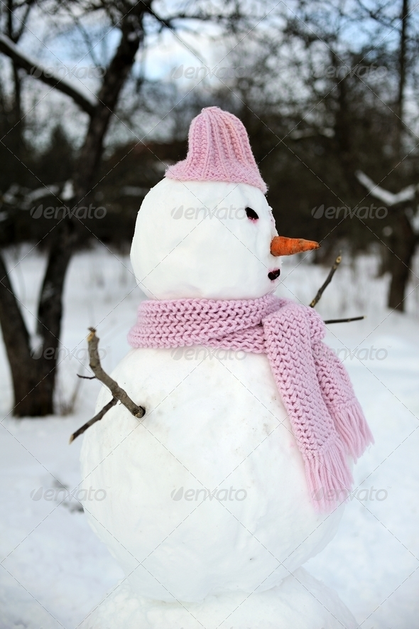 Snowman in pink - Stock Photo - Images
