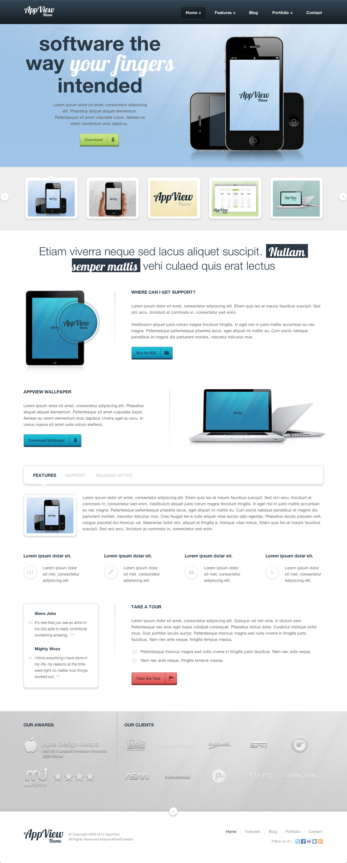 AppView Professional Portfolio WordPress Theme - Screenshot 1 - Home page