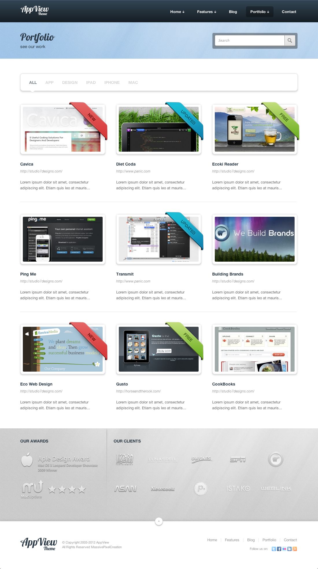 AppView Professional Portfolio WordPress Theme - Screenshot 1 - Portfolio 3 Columns No Sidebar