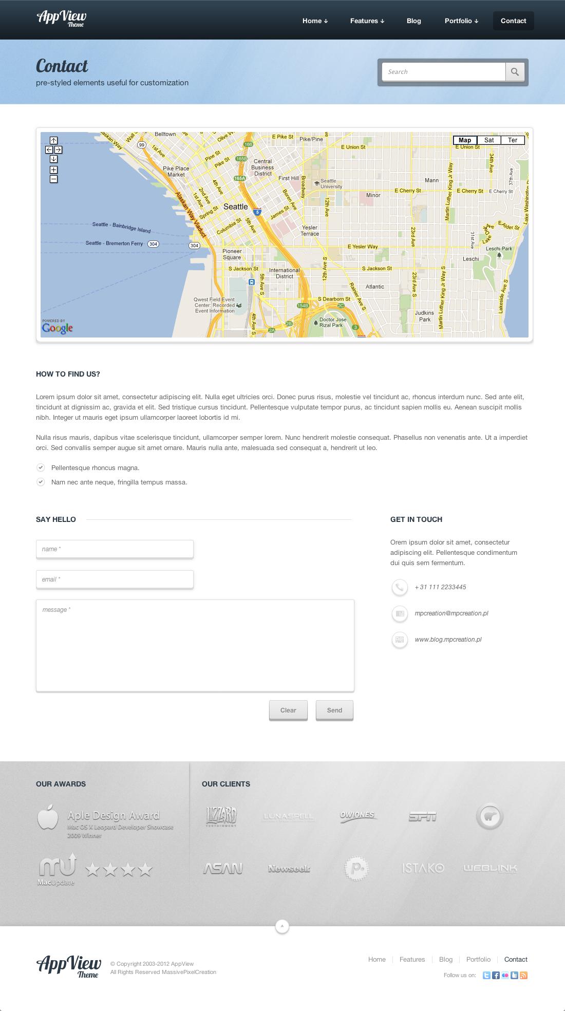 AppView Professional Portfolio WordPress Theme - Screenshot 1 - Contact Page