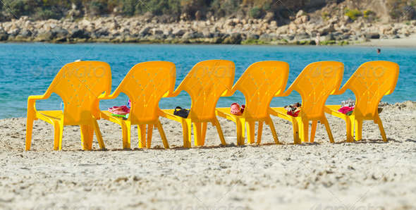 Sea and chairs - Stock Photo - Images