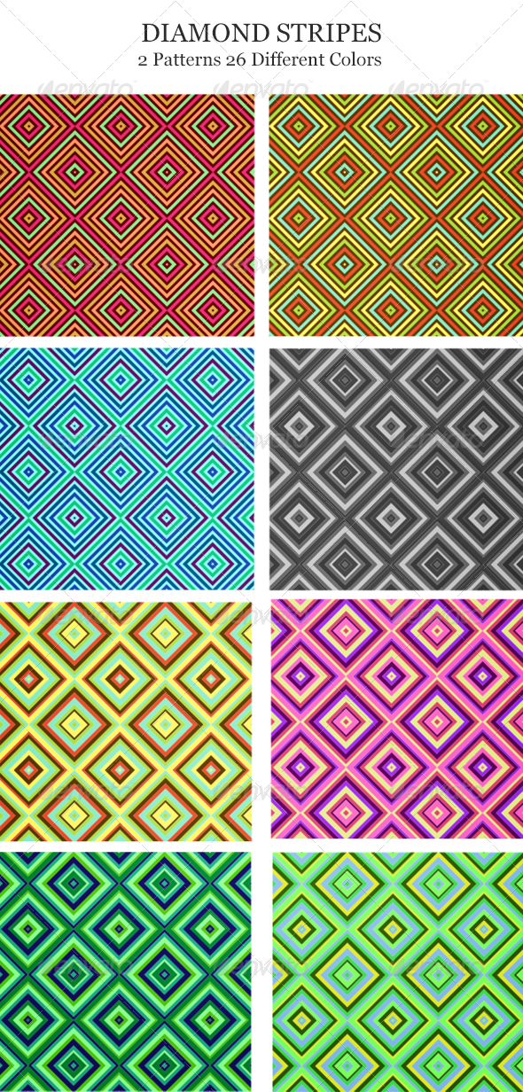 Diamond Stripes Seamless Pattern set - Patterns Decorative
