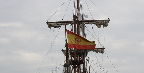 Spanish Flag On The Ship 02