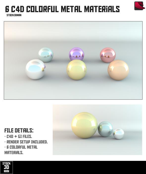 6 Colorful Cinema 4D Metal Materials - 3DOcean Item for Sale