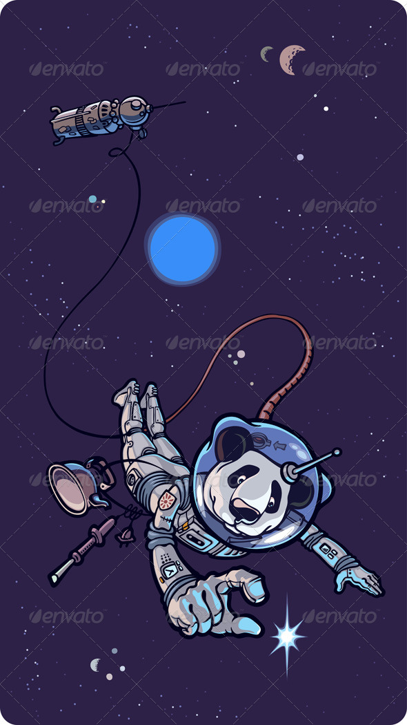 Panda the Astronaut - Characters Vectors