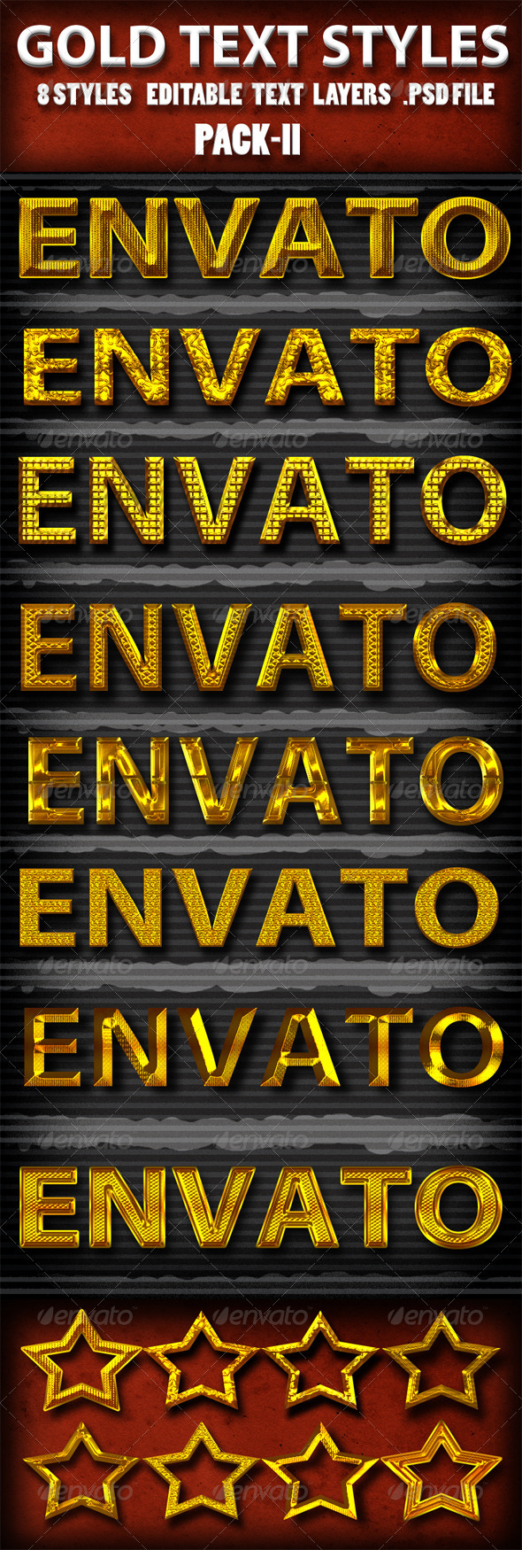 Gold Text Styles Pack II - Text Effects Actions