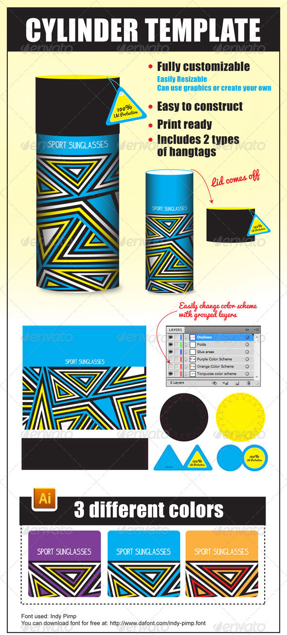 Cylinder Package Template - Packaging Print Templates
