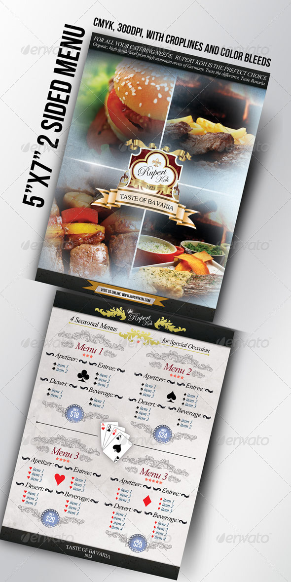 "5""x7"" Restaurant / Catering / Cafe menu - Food Menus Print Templates"