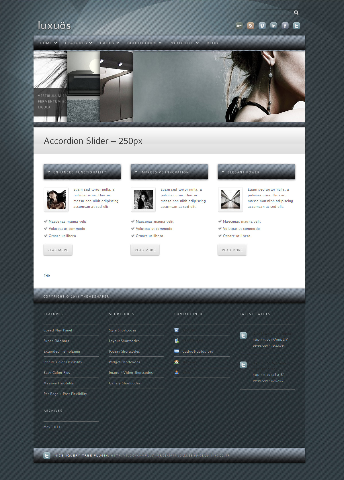 Luxuos - The homepage with slate blue background and color adjusted bars.