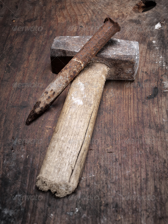 Hammer and chisel - Stock Photo - Images