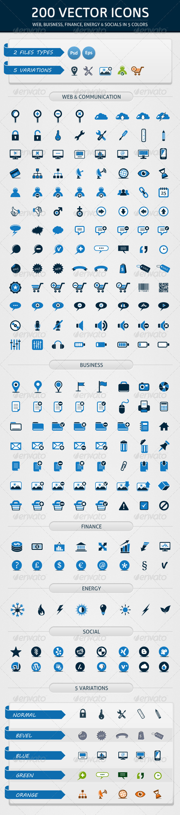 GraphicRiver 200 Vector Icons in 5 Colors 2682311