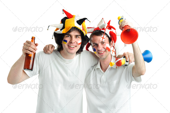 Two football fans - Stock Photo - Images