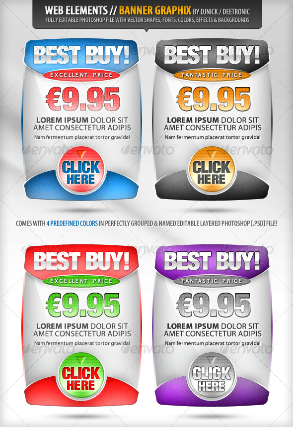 GraphicRiver Web Elements Banners Vector Graphix editable PSD 96889