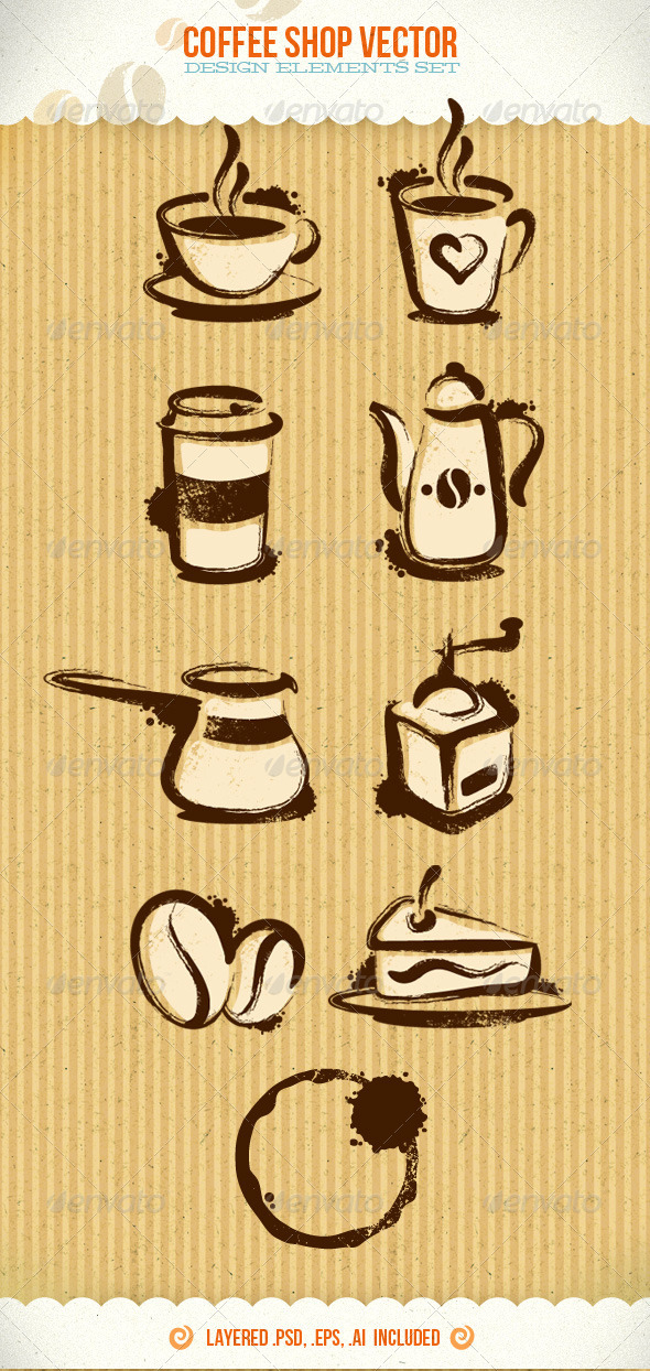 Coffee Shop Vector Creative Design Elements - Food Objects