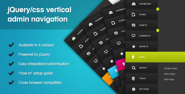 CodeCanyon jQuery CSS Vertical Admin Navigation 2651284