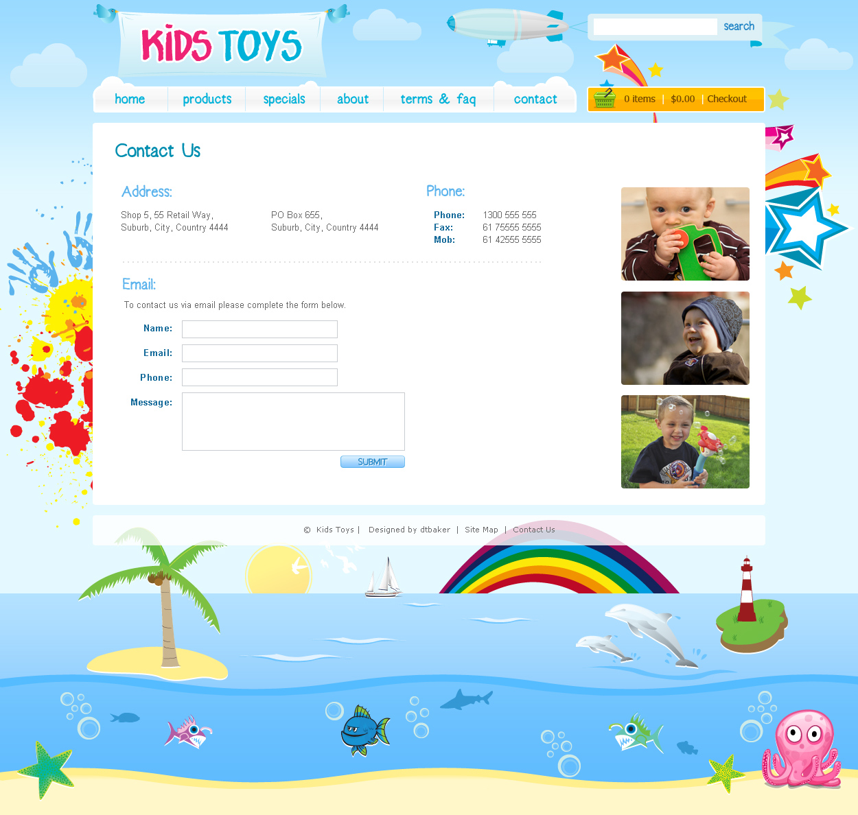 Kids Toys PSD Template by dtbaker – Menu Templates for Kids