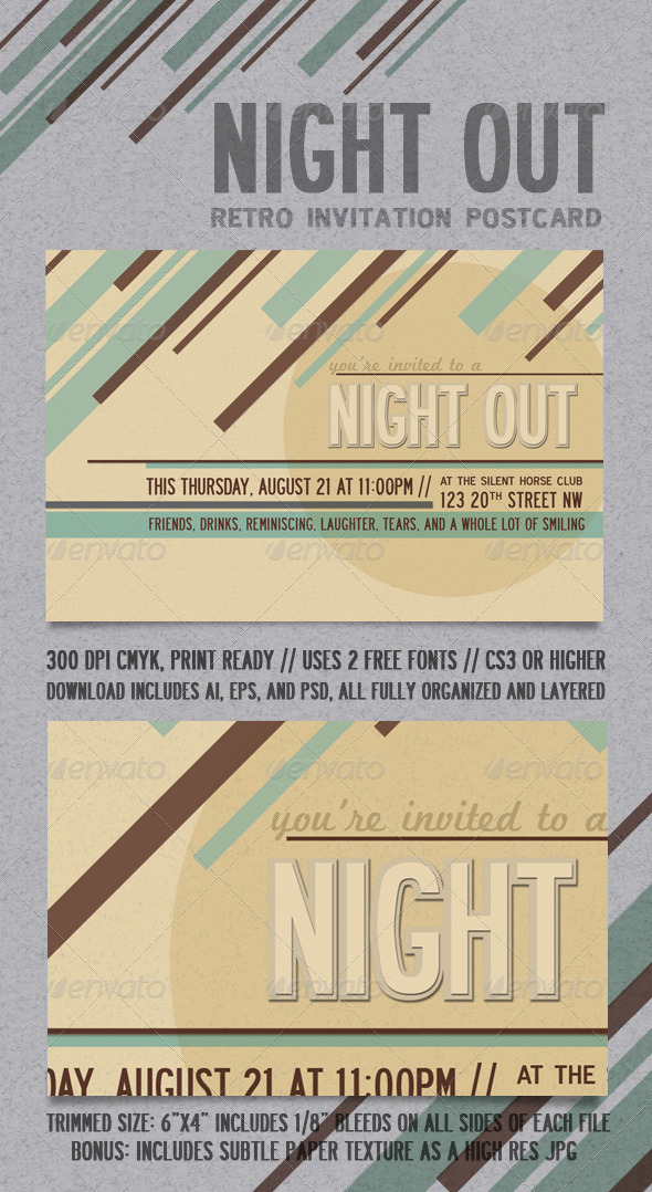 Night Out Retro Invitation Postcard - Invitations Cards & Invites